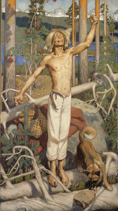 <strong>Akseli Gallen-Kallela: <em>Kullervon kirous</em></strong><br /> 1899, 184x102 cm, öljy kankaalle.<br /> Ateneumin taidemuseon kokoelmat.<br /> Kuva: Pirje Mykkänen / Valtion taidemuseo, KKA.