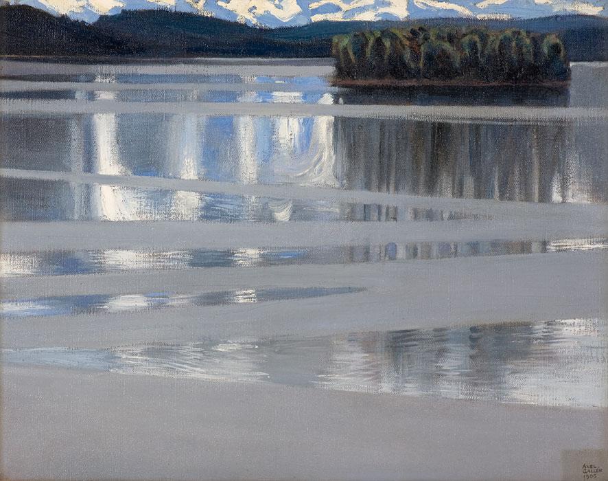 <strong>Akseli Gallen-Kallela: <em>Keitele</em></strong><br /> 1905, 53x67 cm, öljy kankaalle.<br /> Lahden taidemuseo / Viipuri Säätiö.<br /> Kuva: Tiina Rekola / Lahden kaupunginmuseo.