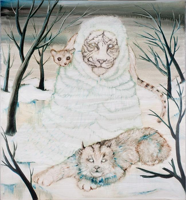 <strong>Hannaleena Heiska: <em>Beware the Woods at Night, Beware the Lunar Light</em></strong><br /> 2008, 130 x 120 cm, öljy mdf-levylle.<br />  Kuva: Vesa Aaltonen.