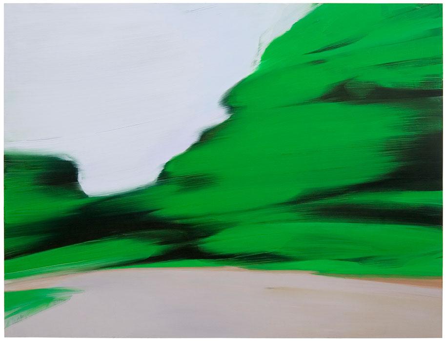 <strong>Jussi Niva: <em>No 06: Twist Green</em></strong><br /> 2005, 122 x 160 cm, öljy levylle.<br /> Kuva: Jussi Tiainen.